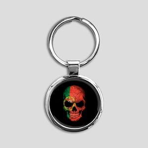Portuguese Flag Skull on Black Keychains