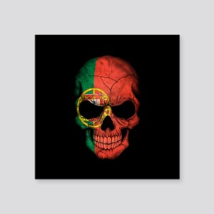 Portuguese Flag Skull on Black Sticker