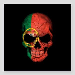 Portuguese Flag Skull on Black Square Car Magnet 3