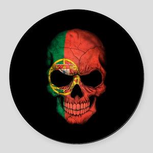 Portuguese Flag Skull on Black Round Car Magnet