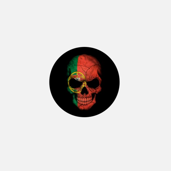 Portuguese Flag Skull on Black Mini Button