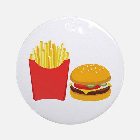 Fast Food French Fries Burger Ornament (Round)