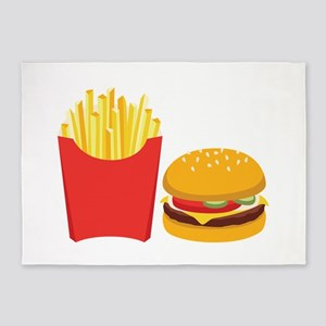Fast Food French Fries Burger 5'x7'Area Rug