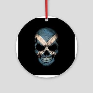 Scottish Flag Skull on Black Ornament (Round)