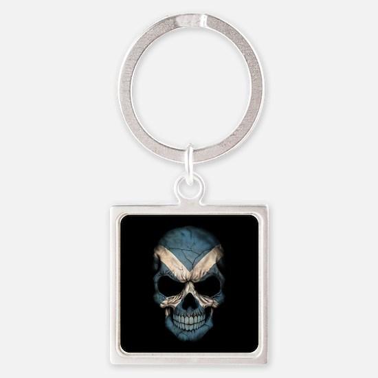 Scottish Flag Skull on Black Keychains