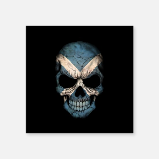 Scottish Flag Skull on Black Sticker