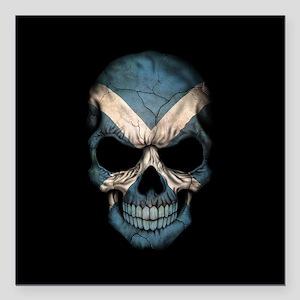 """Scottish Flag Skull on Black Square Car Magnet 3"""""""
