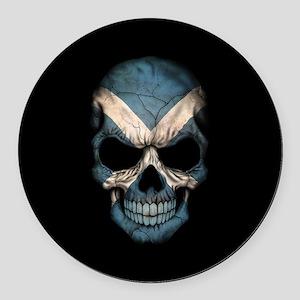 Scottish Flag Skull on Black Round Car Magnet
