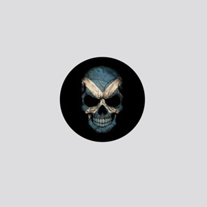 Scottish Flag Skull on Black Mini Button