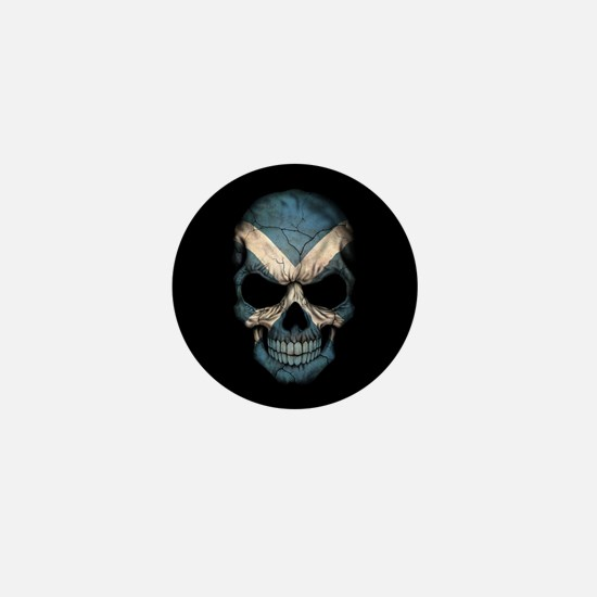 Scottish Flag Skull on Black Mini Button