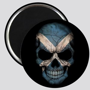 Scottish Flag Skull on Black Magnets