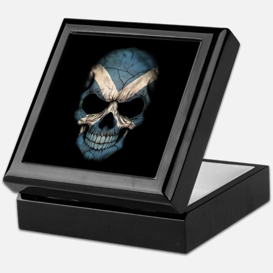 Scottish Flag Skull on Black Keepsake Box