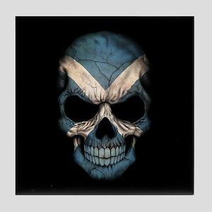 Scottish Flag Skull on Black Tile Coaster