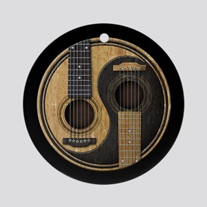 Old and Worn Acoustic Guitars Yin Yang Ornament (R