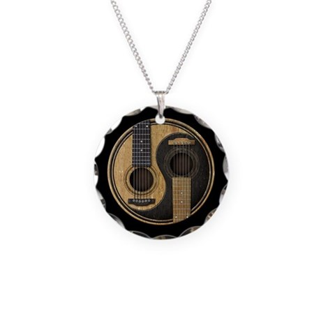 Old and Worn Acoustic Guitars Yin Yang Necklace Ci