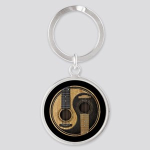 Old and Worn Acoustic Guitars Yin Yang Keychains