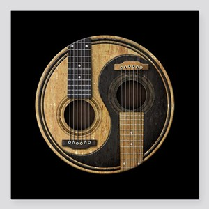 Old and Worn Acoustic Guitars Yin Yang Square Car