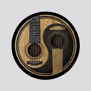 """Old and Worn Acoustic Guitars Yin Yang 3.5"""" Button"""