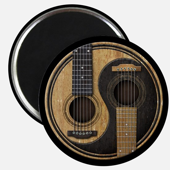 Old and Worn Acoustic Guitars Yin Yang Magnets