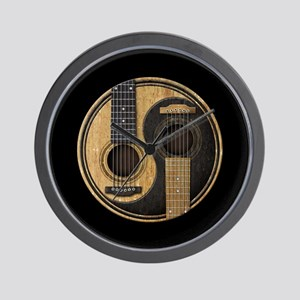 Old and Worn Acoustic Guitars Yin Yang Wall Clock