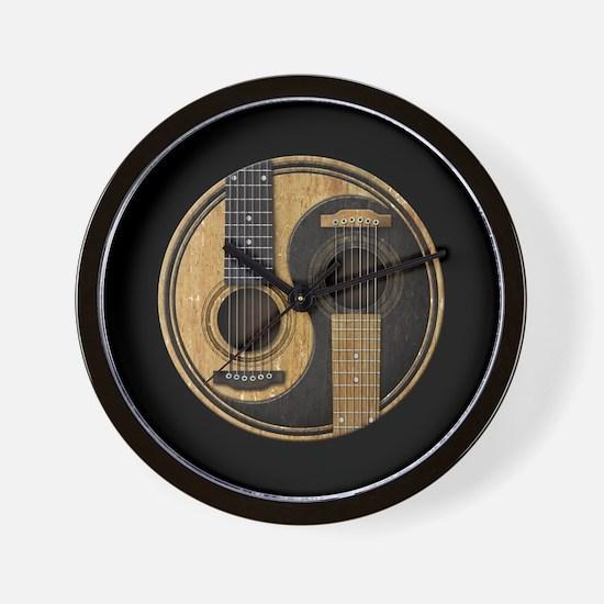 Old and Worn Acoustic Guitars Yin Yang Wall Clock
