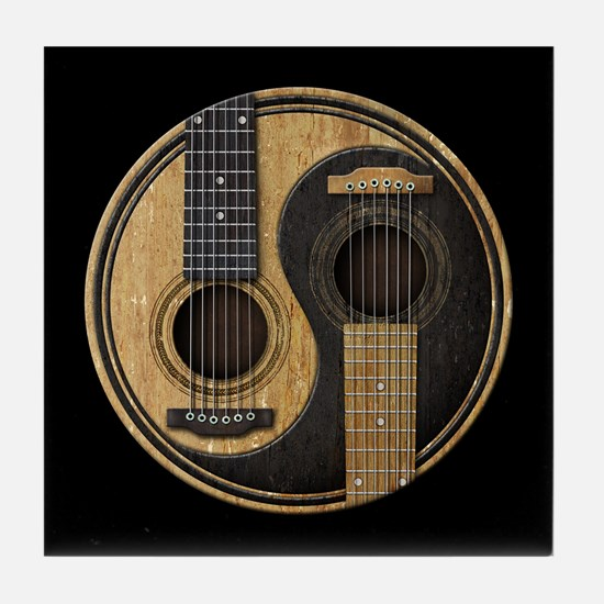 Old and Worn Acoustic Guitars Yin Yang Tile Coaste