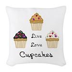 Live Love Cupcakes Woven Throw Pillow