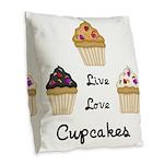 Live Love Cupcakes Burlap Throw Pillow