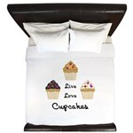 Live Love Cupcakes King Duvet