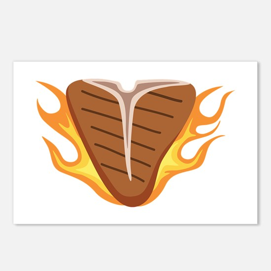 T-bone Steak Meat Grill Cook Flames Fire Postcards