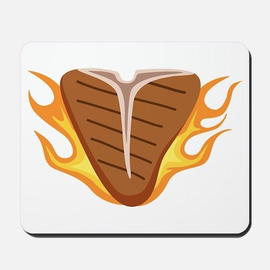 T-bone Steak Meat Grill Cook Flames Fire Mousepad