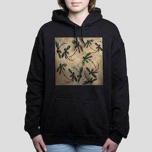 Dragonfly Flit Rustic Cr Women's Hooded Sweatshirt