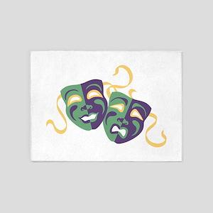 Happy Sad Drama Acting Theatre Masks 5'x7'Area Rug