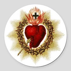 Sacred Heart Round Car Magnet