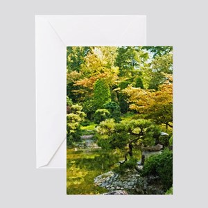 Japanese garden, early autumn Greeting Cards