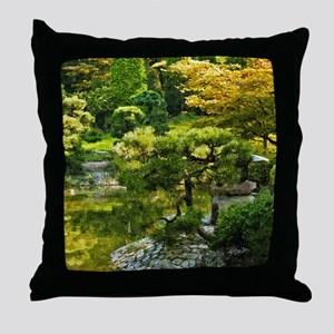 Japanese garden, early autumn Throw Pillow