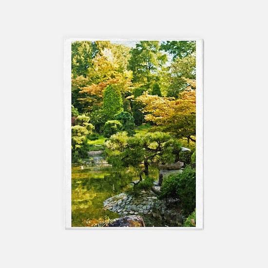 Japanese garden, early autumn 5'x7'Area Rug