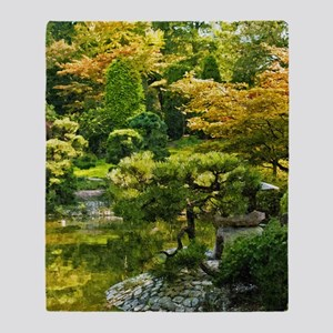 Japanese garden, early autumn Throw Blanket