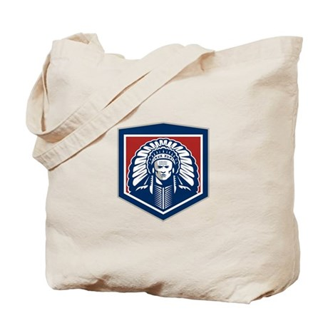 Native American Chief Shield Retro Tote Bag