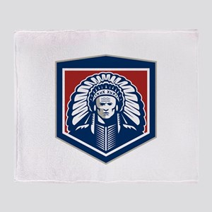 Native American Chief Shield Retro Throw Blanket
