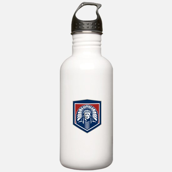Native American Chief Shield Retro Water Bottle