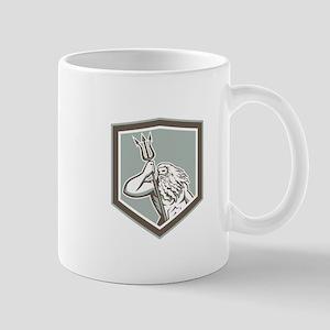 Neptune Holding Trident Shield Retro Mugs