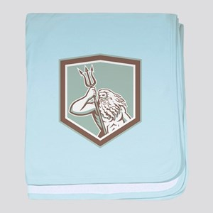 Neptune Holding Trident Shield Retro baby blanket