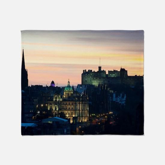 View of Edinburgh Castle at night Throw Blanket
