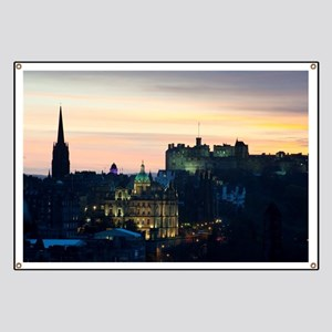 View of Edinburgh Castle at night Banner