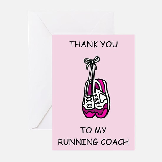 Thank you to my running coach, pink Greeting Cards