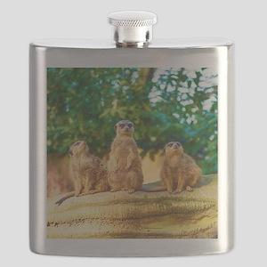 Meerkats standing guard Flask