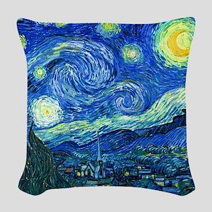 van gogh starry night Woven Throw Pillow