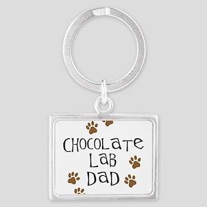 Chocolate Lab Dad Landscape Keychain