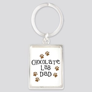 Chocolate Lab Dad Portrait Keychain